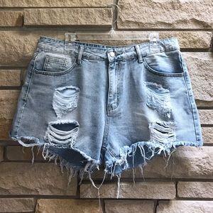 SHEIN high waist denim mom shorts distressed 1x